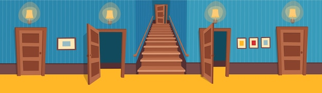 Binnenkamer met een trap en deuren. illustratie van cartoon gang.