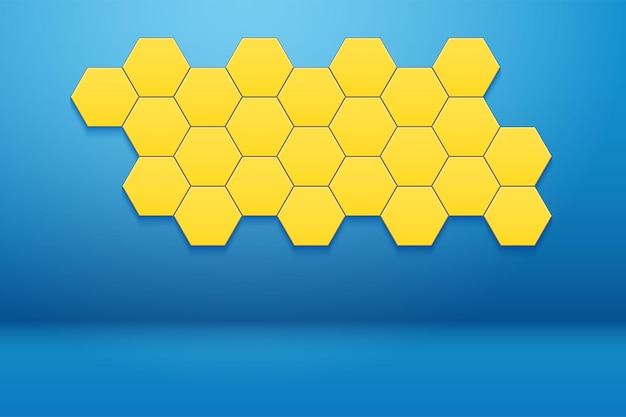 Binnenkamer met honingraat zeshoekig wanddecor. blauwe muur en geel hexagon ornament.