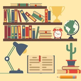 Binnenkamer met planken met literatuur, klokken, bollen, kopjes, tafellamp.