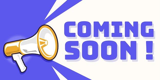 Binnenkort aankondiging banner met megafoon