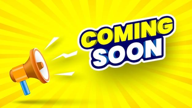 Binnenkort banner met megafoon op geel gestreepte achtergrond vectorillustratie