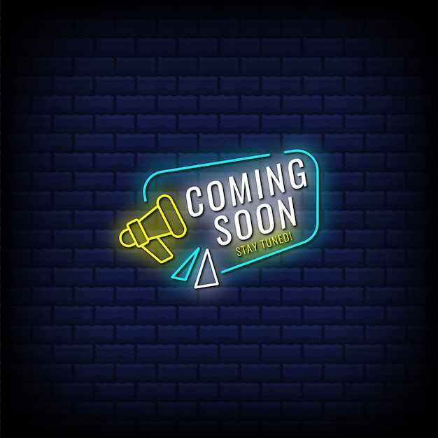 Binnenkort beschikbaar, blijf op de hoogte in neonbordstijltekst met megafoon