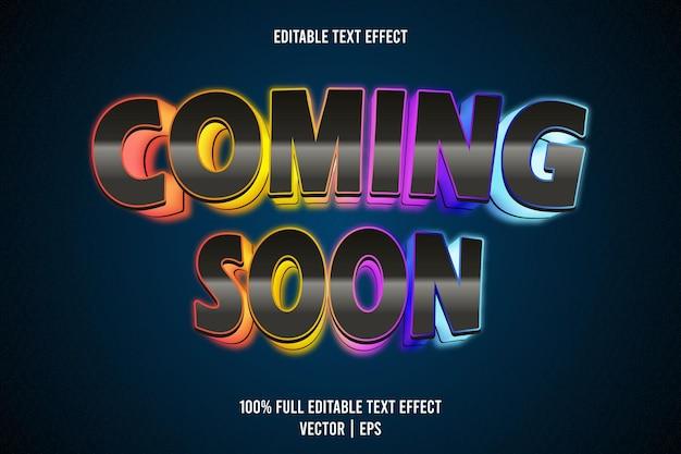 Binnenkort bewerkbaar teksteffect 3-dimensionaal reliëf neonstijl