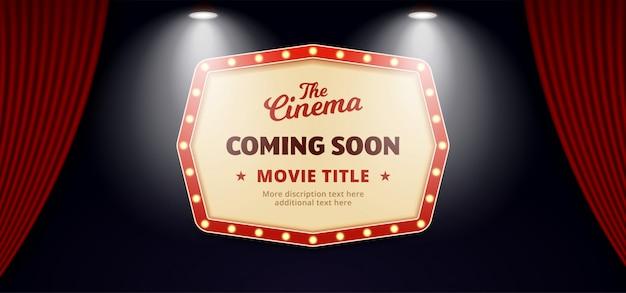 Binnenkort film in bioscoopontwerp. oud klassiek retro theateraanplakbordteken op open het gordijnachtergrond van het theaterstadium met dubbele heldere schijnwerper