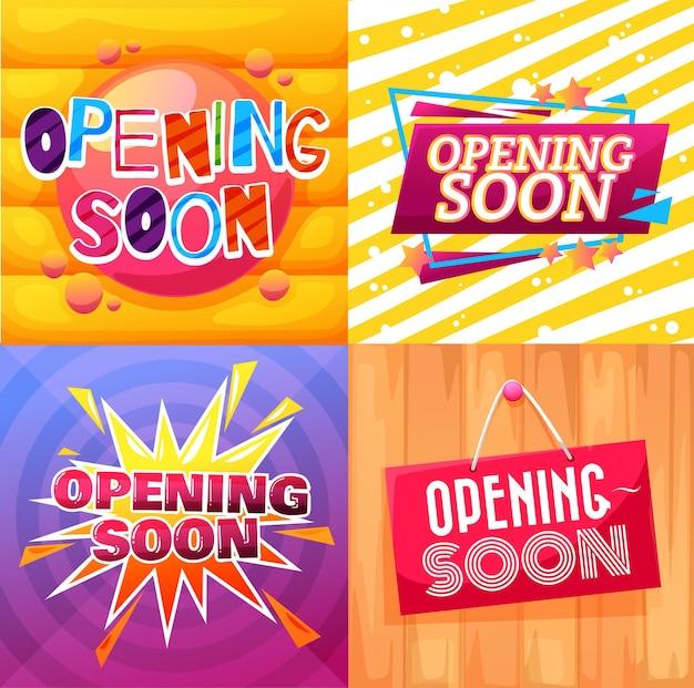 Binnenkort geopend banners en uithangborden van winkel of winkel