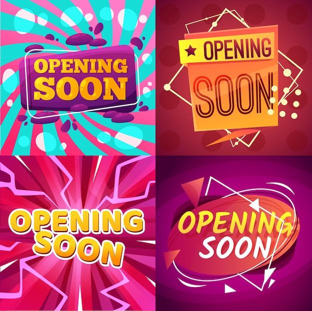Binnenkort geopend banners promotie en aankondiging Premium Vector