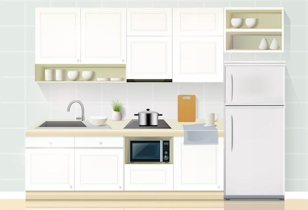 Binnenland van moderne keuken met toestellen