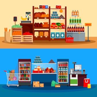 Binnenland van supermarktbanners