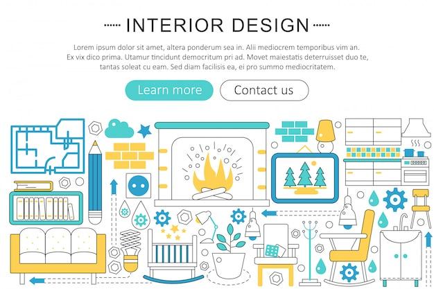 Binnenlands ontwerp decor vlakke lijn concept