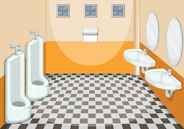 Binnenlands ontwerp van mannelijk toilet