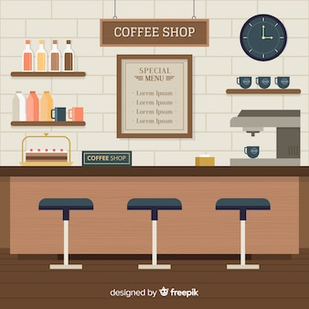 Binnenlands ontwerp van moderne koffiewinkel met vlak ontwerp