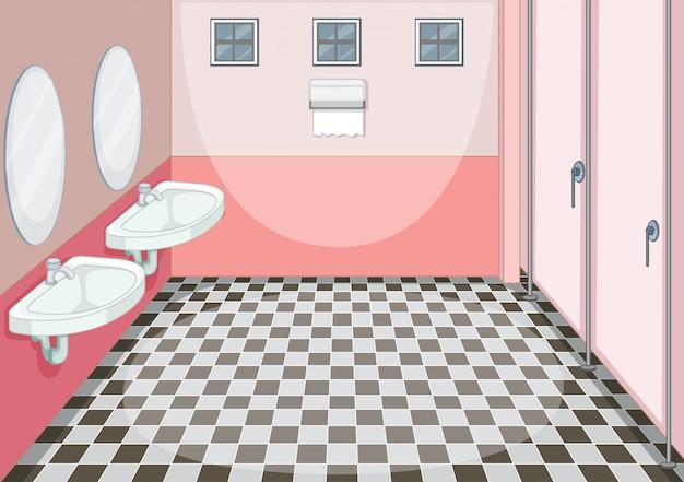 Binnenlands ontwerp van vrouwelijk toilet