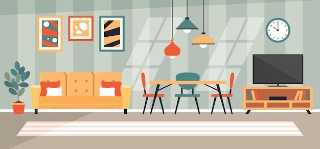 Binnenlands ontwerpconcept met vlakke meubels