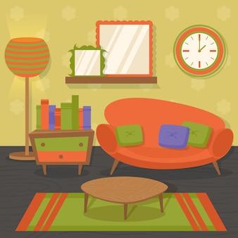 Binnenlands woonkamer oranje ontwerp met de vectorillustratie van de bankspiegellijst