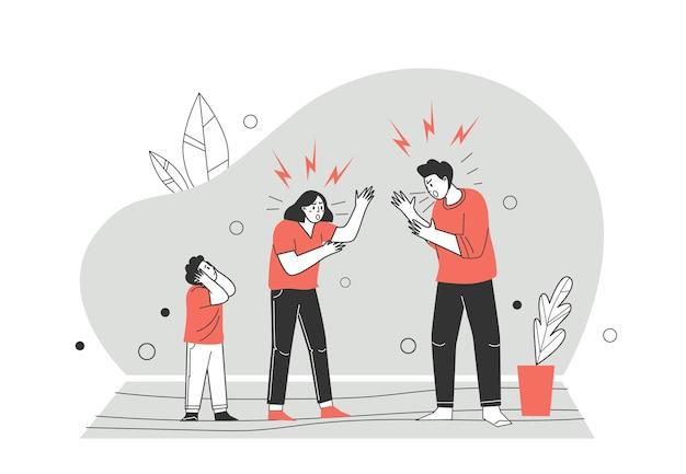 Binnenlandse conflicten en meningsverschillen over zelfisolatie, quarantaine. familie boos. de relatie tussen een man en een vrouw achterhalen, huiselijk geweld. vectorillustratie in platte cartoon stijl.