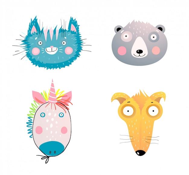 Binnenlandse en wilde dieren gezichten illustraties set. charmante huisdieren gezichtsuitdrukkingen. schattige kitten, grizzly, pandabeer hoofden. verrast hond, puppy met grote ogen. abstracte kinderachtige fantasie eenhoorn