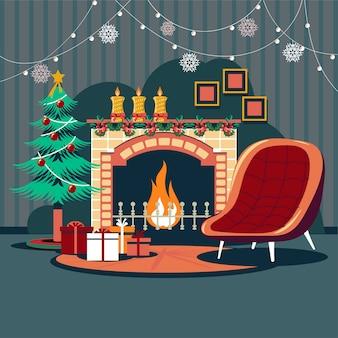Binnenlandse kerstmis met magische gloeiende open haard van de kerstboom en giften