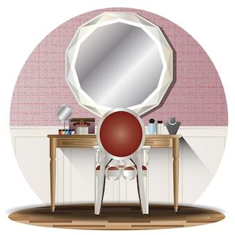 Binnenlandse kleedkamerverhoging met achtergrond