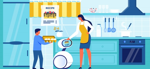 Binnenlandse robot helpen koken op moderne keuken