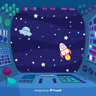 Binnenlandse ruimteschip ontwerp achtergrond met platte deisgn