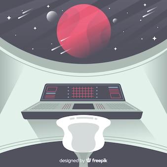 Binnenlandse ruimteschipachtergrond met vlak ontwerp