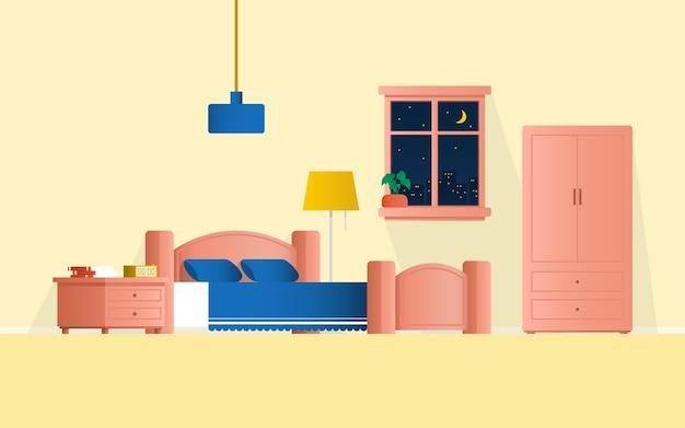 Binnenlandse slaapkamer met meubilair en vensterillustratie