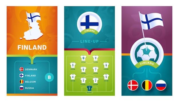 Binnenlandse team europese voetbal verticale banner ingesteld voor sociale media. binnenlandse groep b-banner met isometrische kaart, speldvlag, wedstrijdschema en opstelling op voetbalveld