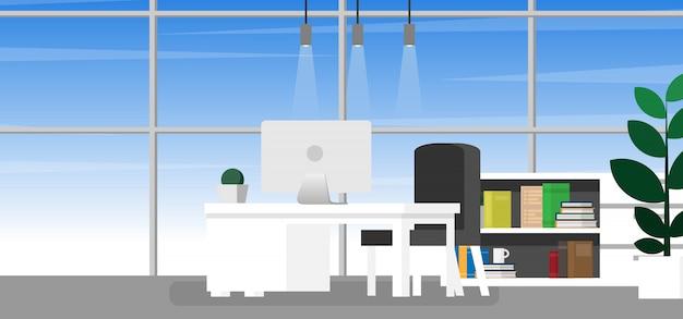 Binnenlandse werkruimte binnenshuis of thuiskantoor met kopie ruimte voor tekst