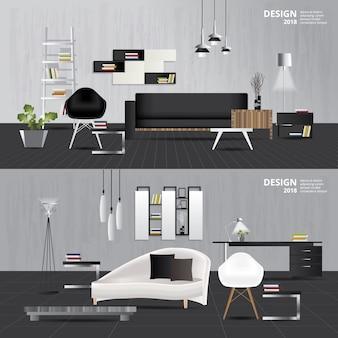 Binnenlandse woonkamer met meubilair vastgestelde vectorillustratie