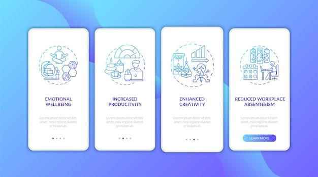 Binnenmilieu blauw kleurverloop onboarding mobiele app paginascherm met concepten