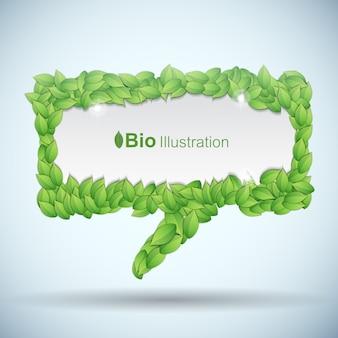 Bio concept met tekstballon gemaakt van griekse bladeren