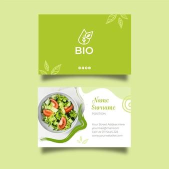 Bio en gezond voedsel dubbelzijdig visitekaartje Premium Vector