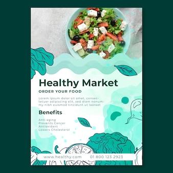 Bio en gezond voedsel folder sjabloon