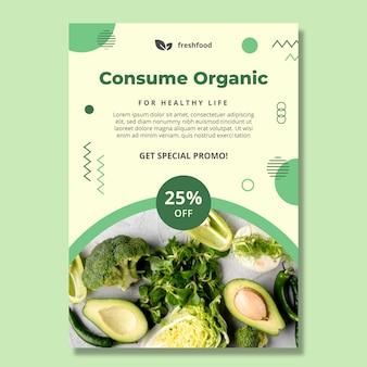 Bio en gezond voedsel poster sjabloon