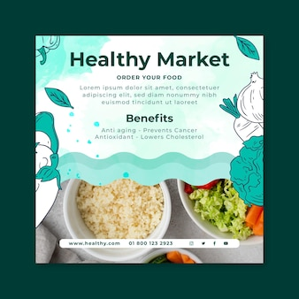 Bio en gezond voedsel vierkante flyer-sjabloon