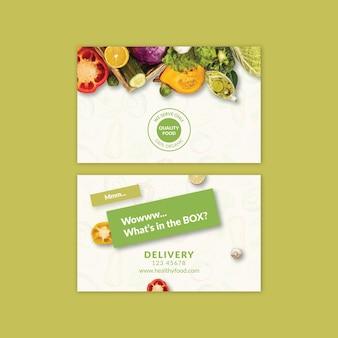 Bio en gezond voedsel visitekaartje sjabloon met foto