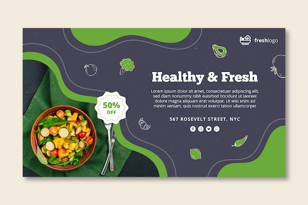 Bio en gezond voedselbanner met foto