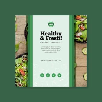 Bio en gezonde voeding vierkante flyer