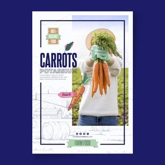 Bio en gezonde wortelen poster sjabloon