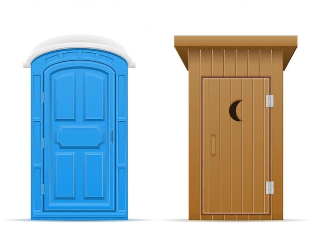 Bio en houten openluchttoilet vectorillustratie