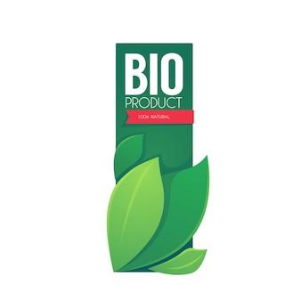 Bio product verticale labelsjabloon met groene bladeren en belettering samenstelling en helder roze lint