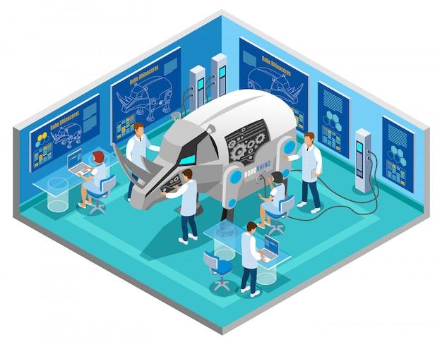 Bio-robots die de isometrische samenstelling van dierproeven vervangen door geautomatiseerde onderzoeksprocedures voor neushoorns in een wetenschappelijk laboratorium