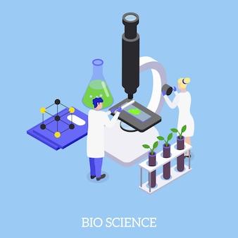 Bio-wetenschappelijke isometrische illustratiesamenstelling met elektronenmicroscoop waardoor genetische manipulatieonderzoeken het dna van planten kunnen manipuleren