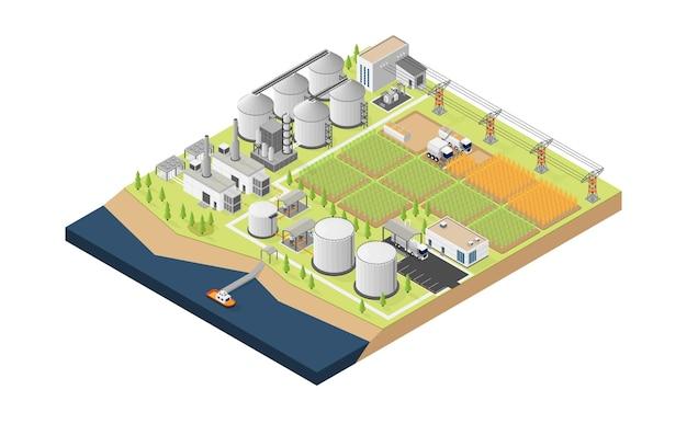 Biobrandstof energie biobrandstof elektriciteitscentrale in isometrische stijl