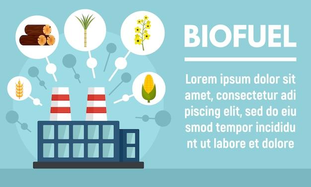 Biobrandstof fabriek banner, vlakke stijl