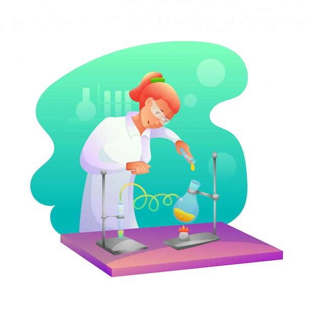 Biochemicus die onderzoek vlakke afbeelding maakt