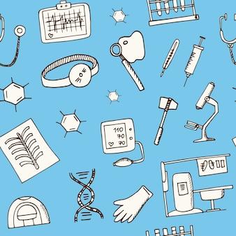 Biochemie haand getrokken doodle naadloze patroon