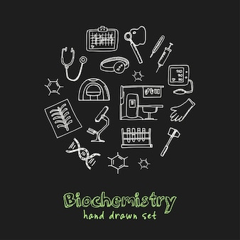 Biochemie hand getrokken doodle set
