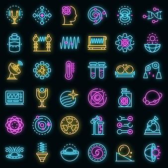 Biofysica pictogrammen instellen. overzicht set van biofysica vector iconen neon kleur op zwart