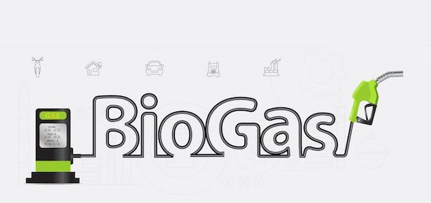 Biogas typografisch pompmondstuk creatief ontwerp